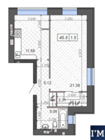 Евродвушка 46 м2 в рассрочку на 2 года! Средний этаж!